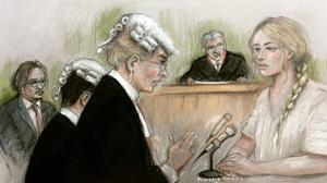 Court artist sketch of actress Amber Heard being questioned (Elizabeth Cook/PA)
