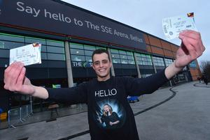 PACEMAKER BELFAST  29/02/2016 Adele fan Adam Bazuin from The Netherlands pictured waiting to get into the SSE arena in Belfast for this evenings opening night of her World Tour and Adam also has a ticket from tuesday nights show. Picture By: Arthur Allison/Pacemaker Press