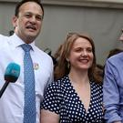 Taoiseach Leo Varadkar (left), Minister for Health Simon Harris (right) and Senator Catherine Noone (Brian Lawless/PA)