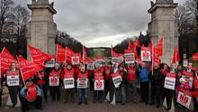 Public sector workers on strike outside Stormont in 2011