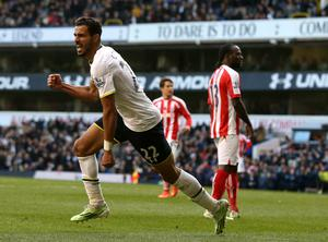 Tottenham Hotspur's Nacer Chadli celebrates scoring their first goal  during the Barclays Premier League match at White Hart Lane, London. John Walton/PA Wire.
