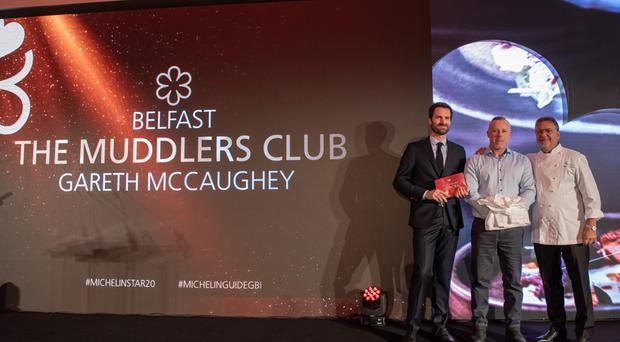 Gareth McCaughey, head chef at The Muddler's Club, after receiving a Michelin star