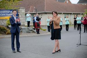 First Minister Arlene Foster, Jonathan Buckley MLA and members of staff join the Clap for Carers at Sandringham Care Home in Portadown back in May.