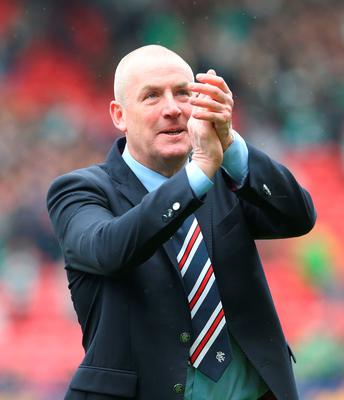 GLASGOW, SCOTLAND - APRIL 17:  Rangers manager Mark Warburton celebrates after winning the penalty shoot out during the Scottish Cup Semi Final between Rangers and Celtic at Hampden Park on April 17, 2016 in Glasgow, Scotland. (Photo by Ian MacNicol/Getty)