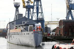 28 October 2016 - Picture by Darren Kidd / Press Eye.       World War One Battle of Jutland veteran light cruiser, the 3,700-ton HMS Caroline being moved from its current location in Alexandra Dock to Harland and Wolff Heavy IndustriesÕ Belfast Dock for a scheduled hull inspection and repair on October 28.