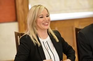 Sinn Féin MLA Michelle ONeill pictured at Stormont as she is announced as the new leader of the party in the north.Photograph by Presseye/Cameron  Hamilton