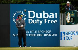 NEWCASTLE, NORTHERN IRELAND - MAY 30:  Richie Ramsay of Scotland looks down the 1st hole during the Third Round of the Dubai Duty Free Irish Open Hosted by the Rory Foundation at Royal County Down Golf Club on May 30, 2015 in Newcastle, Northern Ireland.  (Photo by Ross Kinnaird/Getty Images)