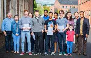 Michael Cleland , Nkosinathi Khumalo and James Kavanagh From Royal Belfast Academical Institution as he receives GCSE results on August 24th 2017 (Photo by Kevin Scott / Belfast Telegraph)