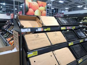 Empty food shelves in Sainsbury's store in Bangor, Co Down (Michael McHugh/PA)