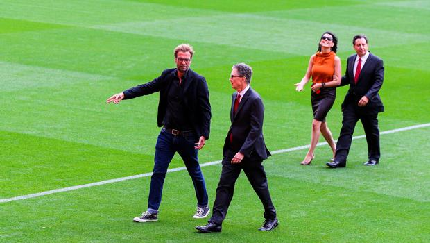 LIVERPOOL, ENGLAND - SEPTEMBER 09: Liverpool's manager Jurgen Klopp and club owner John W Henry with his wife Linda Pizzuti and Tom Werner during the opening of  the new stand and facilities  at Anfield on September 9, 2016 in Liverpool, England. (Photo by Barrington Coombs/Getty Images)