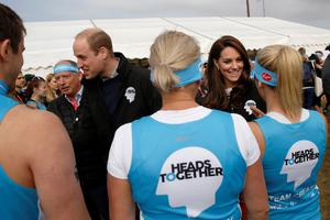 William and Kate pictured with London Marathon runners supporting their Heads Together mental health campaign which is launching a series of wellbing guides with Instagram (Luke MacGregor/PA)