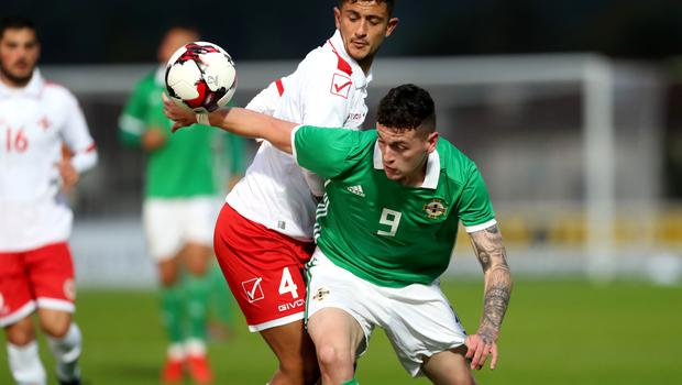 Press Eye - Belfast -  Northern Ireland - 06th September 2019 - Photo by William Cherry/Presseye   Northern Ireland's David Parkhouse with Malta's Nicholas Pulis during Friday nights Under-21 Euro Qualifier at the Showgrounds, Ballymena.   Photo by William Cherry/Presseye
