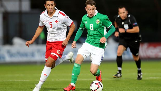 Press Eye - Belfast -  Northern Ireland - 06th September 2019 - Photo by William Cherry/Presseye   Northern Ireland's Kyle McClean with Malta's Kurt Shaw during Friday nights Under-21 Euro Qualifier at the Showgrounds, Ballymena.   Photo by William Cherry/Presseye