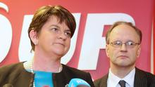 DUP leader Arlene Foster, along with her party colleagues, holds a press conference at DUP headquarters. Picture by Jonathan Porter/Press Eye
