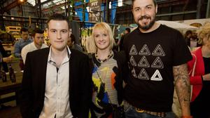 Kyle Gawley, Emma Leahy and Aaron Taylor at the Friday night Mash Up networking event for the tech community at T13 in Belfast's Titanic Quarter