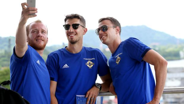 Press Eye - Belfast -  Northern Ireland - 28th May 2018 - Photo by William Cherry/Presseye  Northern Ireland players Liam Boyce, Craig Cathcart and Jonny Evans visit the Panama Canal on Monday morning as part of their summer tour to Panama and Cost Rica. The Canal is a 77.1-kilometre ship canal in Panama that connects the Atlantic Ocean to the Pacific Ocean. Photo by William Cherry/Presseye