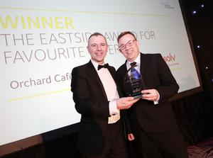 Eastside Awards Winners 2019   CAPTIONS  Favourite Eatery Colin Thompson of Orchard Café receives Eastside Award for Favourite Eatery from Stephen Kane of sponsor Solv Group