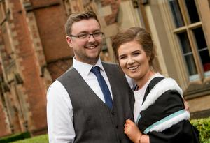 Tessa Cunningham, pictured here with her boyfriend Dayle Crozier, celebrates graduation success from Stranmillis University College of Queens University Belfast. Tessa graduated with a degree in Early Childhood Studies.
