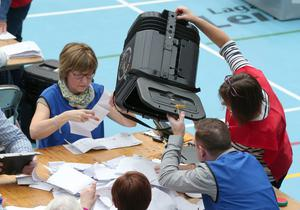 The count gets under way at Lisburn Leisure Plex count centre for Lagan Valley and South Down candidates.