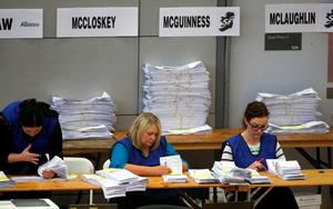 Counting of votes continues at the Foyle Arena in Londonderry in the Foyle and East Londonderry constituencies in the Northern Ireland Assembly Elections.  Niall Carson/PA Wire