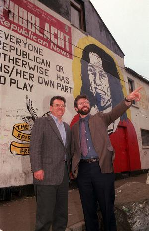 PACEMAKER BELFAST 22/1/99 US congressman Peter King pictured with Gerry Adams outside Sinn Fein HQ on the Falls Road.