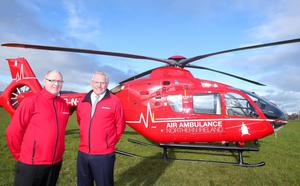 Press Eye Belfast - Northern Ireland 9th November 2016  One of the two helicopters which will deliver Northern IrelandÕs first ever Helicopter Emergency Medical Service (HEMS) is in Northern Ireland for a three-day flying visit.   Pictured with the Airbus helicopter is Air Ambulance Northern Ireland Chairman Ian Crowe and Trustee Ray Foran.  Picture by Jonathan Porter/Press Eye