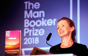 Anna Burns on stage at the Guildhall in London after she was awarded the Man Booker Prize on Tuesday