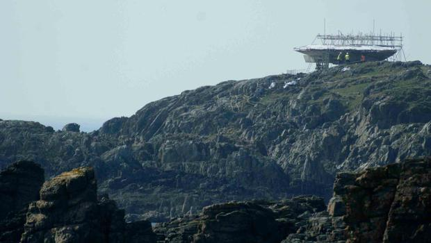 Construction underway on the Millennium Falcon at Malin Head. Picture James Whorriskey