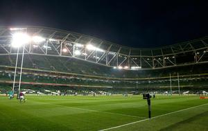 General view of the warm up inside the Aviva Stadium before the Autumn International match at the Aviva Stadium, Dublin. PRESS ASSOCIATION Photo. Picture date: Saturday November 26, 2016. See PA story RUGBYU Ireland. Photo credit should read: Brian Lawless/PA Wire. RESTRICTIONS: Editorial use only, No commercial use without prior permission
