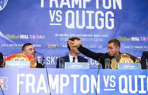 Carl Frampton and Scott Quigg pictured at Thursdays press conference in Manchester ahead of Saturday nights World Super-Bantamweight unification clash at the Manchester Arena. Press Eye - Belfast -  Northern Ireland - 25th February 2016 - Photo by William Cherry