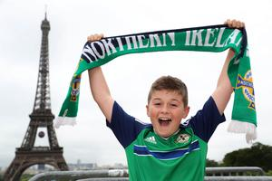 Northern Ireland fan Aaron Baxter from Newry in Paris where Northern Ireland will play their final Euro 2016 group game against Germany at the Parc des Princes.