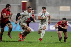 Toulouse's Antoine Dupont makes a break to score a try (INPHO/Dan Sheridan)