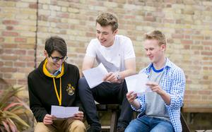A-Level results day 2016 - Omar Helmy, Jack Irvine and Carson McKee of RBAI on the 18th August 2016, Belfast , Northern Ireland ( Photo by Kevin Scott / Belfast Telegraph )