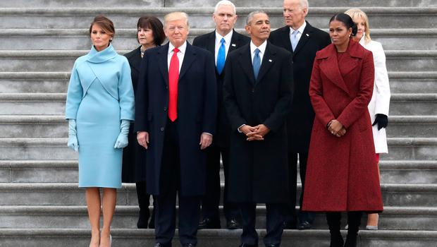 WASHINGTON, DC - JANUARY 20: (From L to R) First Lady Melania Trump, Karen Pence, President Donald Trump, Vice President Mike Pence, former president Barack Obama, former vice president Joe Biden, Michelle Obama and Jill Biden stand on the steps of the U.S. Capitol on January 20, 2017 in Washington, DC. In today's inauguration ceremony Donald J. Trump becomes the 45th president of the United States.  (Photo by Rob Carr/Getty Images)