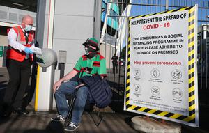 Press Eye - Belfast - Northern Ireland - 31st July 2020 -   Sadler's Peaky Blinder Irish Cup Final at the National Football Stadium at Windsor Park - Ballymena United FC v Glentoran FC.   Glentoran fan James Stewart arrives at the match.  250 fans for each team were permitted into he ground with social distancing conditions in relation to COVID-19.  Photo by Jonathan Porter Press Eye.