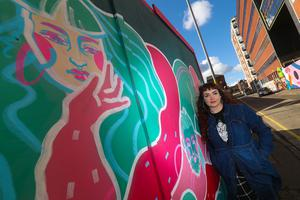 Graffiti artist Kerrie Betty on Kent Street, Belfast. Picture Colm O'Reilly 25-09-2020