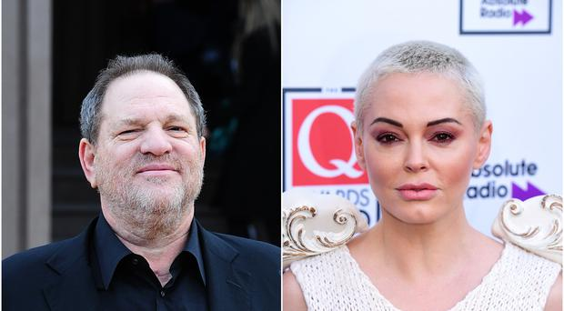 Harvey Weinstein and Rose McGowan (Ian West/PA)
