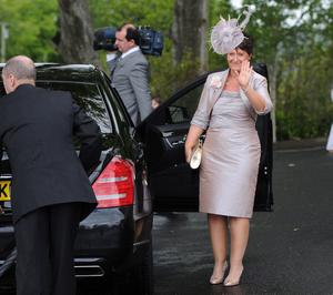 1/6/2013. Mrs McConnell the bride's mother arrives for her daugthers wedding to Manchester United and Northern Ireland football star Jonny Evans at Clough Presbyterian Church in County Antrim this afternoon. Picture Charles McQuillan/Pacemaker.