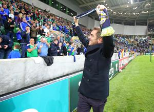 Press Eye - Belfast - Northern Ireland - 8th October 2016 -   The National Football Stadium at Windsor Park Opening Game and Ceremony  Northern Ireland vs San Marino 2018 FIFA World Cup Qualifier  Jimmy Nesbitt  pictured at the official opening ceremony.  Photo by Kelvin Boyes / Press Eye