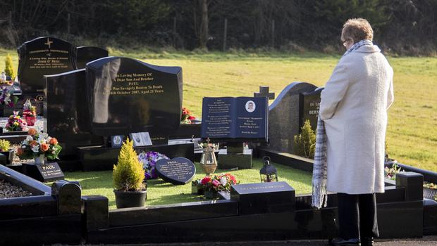 Breege mother of Paul Quinn arrives at Paul's grave in Cullyhanna on February 5th 2020 (Photo by Kevin Scott for Belfast Telegraph)