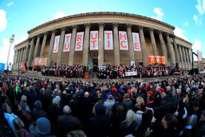 LIVERPOOL, ENGLAND - APRIL 27:  Thousands of people gather outside Liverpool's Saint George's Hall as they attend a vigil for the 96 victims of the Hillsborough tragedy on April 27, 2016 in Liverpool, England. The civic commemoration event marks the outcome of the fresh inquests into the 1989 Hillsborough disaster, in which 96 football supporters were crushed to death, and concluded yesterday with a verdict of unlawful killing. Relatives, Liverpool supporters and members of the public are taking part in the vigil at St George's Hall where a candle is lit for each of the 96 victims who lost their lives during a crush at the Hillsborough football ground in Sheffield, South Yorkshire in 1989..  (Photo by Christopher Furlong/Getty Images)