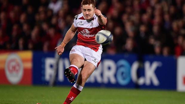 Paddy Jackson kicks a penalty for Ulster