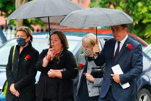 Patricia Hume (second right) arrives at St Eugene's Cathedral in Londonderry for the funeral of her husband John Hume. PA Photo. Picture date: Wednesday August 5, 2020. Hume was a key architect of Northern Ireland's Good Friday Agreement and was awarded the Nobel Peace Prize for the pivotal role he played in ending the region's sectarian conflict. He died on Monday aged 83, having endured a long battle with dementia. See PA story FUNERAL Hume. Photo credit should read: Niall Carson/PA Wire