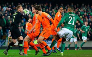 Netherlands goalkeeper Jasper Cillessen saves a shot  the UEFA Euro 2020 Qualifying match at Windsor Park, Belfast. PA Photo. Picture date: Saturday November 16, 2019. See PA story SOCCER N Ireland. Photo credit should read: Liam McBurney/PA Wireduring the UEFA Euro 2020 Qualifying match at Windsor Park, Belfast. PA Photo. Picture date: Saturday November 16, 2019. See PA story SOCCER N Ireland. Photo credit should read: Liam McBurney/PA Wire.