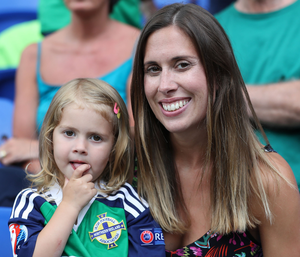 Biggest fans: Gareth McAuley's wife Fran with daughter Lexi