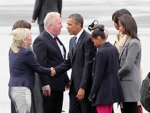 FILE PICTURE Press Eye - Belfast - Northern Ireland -  Monday 17th June 2013 -  Picture by Darren Kidd / Press Eye. Northern Ireland Executive Ministers Arlene Foster and Michelle O'Neill greet President Barack Obama as he arrives in Northern Ireland for the G8 Summit in Enniskillen. Also pictured are Lord Lieutenant Joan Christie; Minister of State Mike Penning and Michelle Obama.