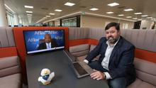Aflac Northern Ireland managing director, Keith Farley, briefing Aflac executive vice-president, Virgil Miller