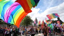 Press Eye - Belfast - Northern Ireland - 4th August 2018 -   Marchers and members of the public pictured at the annual Belfast Pride parade in Belfast City Centre.  Photo by Kelvin Boyes / Press Eye.