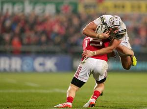 28 October 2016 - Picture by Darren Kidd / Press Eye.     Ulster v Munster at Kingspan Stadium, Belfast.  Ulster's  Luke Marshall  is tackled by Munster's Andrew Conway