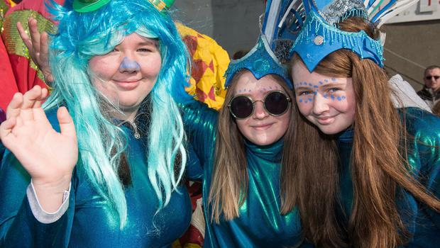 Aoife Conlan, Sarah Gallan and Molly Harkin who took part in the St. Patrick's Day Spring Carnival parade in Strabane. Picture Martin McKeown. Inpresspics.com. 17.03.19
